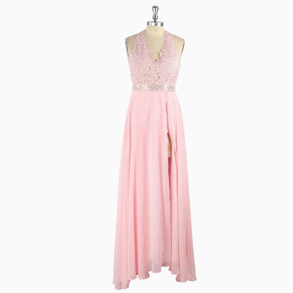Pink Sexy Halter Sleeveless Side Slit Appliques Beading A-line Chiffon Floor-length   Prom     Dress