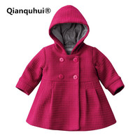 Qianquhui New Baby Girl Toddler Warm Fleece Winter Pea Coat Snow Jacket Suit Clothes Red Pink