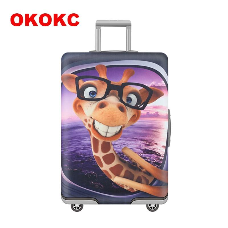OKOKC漫画キリン柄弾性荷物カバー19 ''  -  32 ''スーツケースカバー厚、旅行アクセサリーに適用