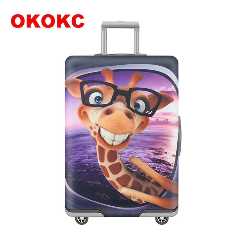 OKOKC Cartoon Giraffe Pattern Elastic Luggage Cover Apply to 19''-32'' Suitcase Cover Thick , Travel Accessories