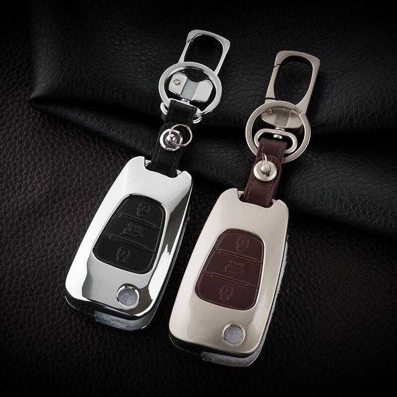 Zinc alloy+Leather Car Key <font><b>Cover</b></font> Case For <font><b>Hyundai</b></font> Accent I30 I20 I35 IX20 Elantra Equus Solaris Verna 2011 2013 2014 With Buckle