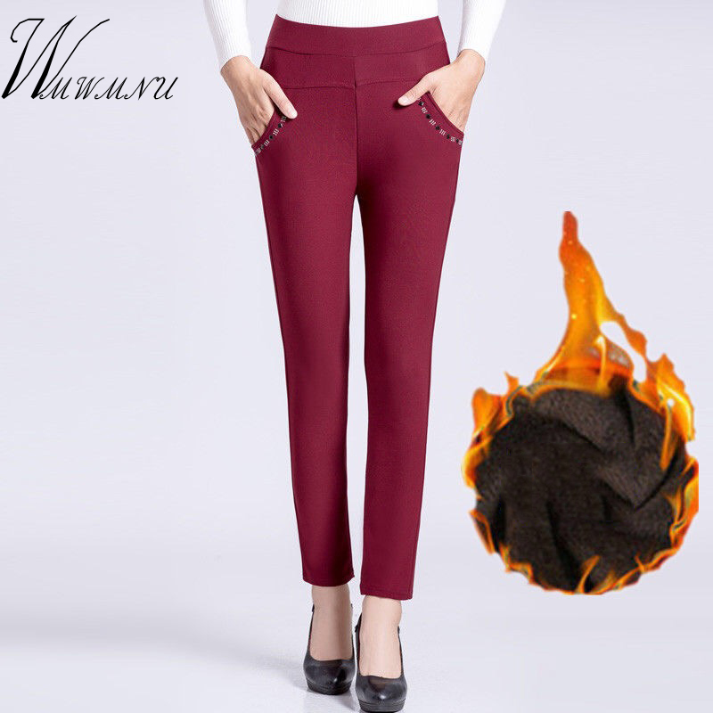 Spring New Plus Size Mom Pants Top High Quality Solid Colors Pocket  Stretch Trousers Ladies Office Casual Basic Pencil Pants