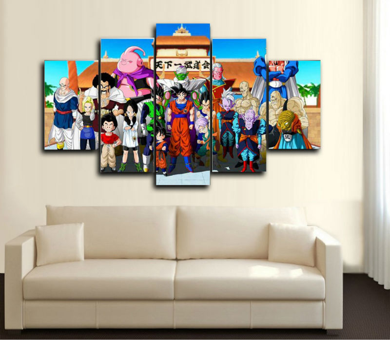 5pcs large HD printed canvas painting DRAGON BALL GROUP canvas print art modern home decor wall art picture for living room F611