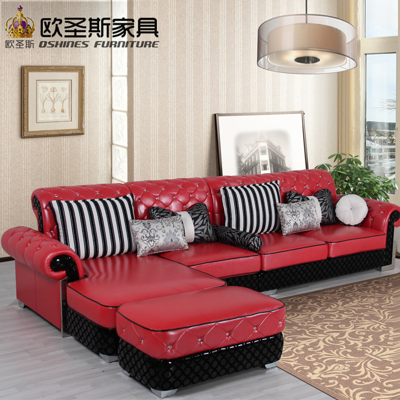 Sectional L Shape Corner Wedding Half Fabric Half Leather Sofa Set Wedding  Burgundy Purple Red Genuine Leather Sofa Italian 112R