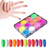 12jars Set Fluorescence Nail Powder Neon Pigment Nail Glitter Toner Barbie Powder Nail Polish Dust UV