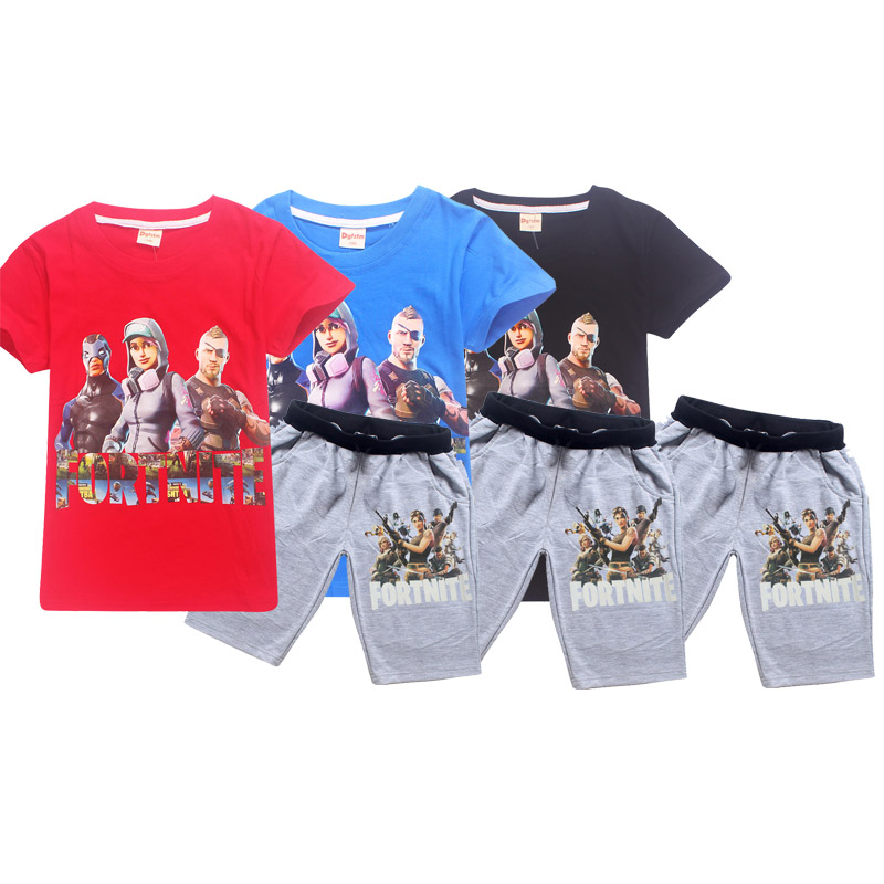 Fashion Game Fortnite black style figure Short Sleeve O-neck Boy T-shirt Funny Girl Summer T Shirts trousers kids clothes set
