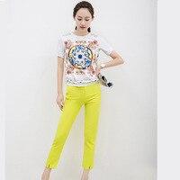 European Station 2015 Summer New Style Women S Fashion Temperament Printed Jacket Haren Pants Suit