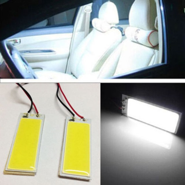 2Pcs Automobile Xenon HID 36 COB LED Dome Map Light Bulb Auto Car Interior Panel Lamp 12V 5500-6000K w/ T10 BA9S Festoon Adapter