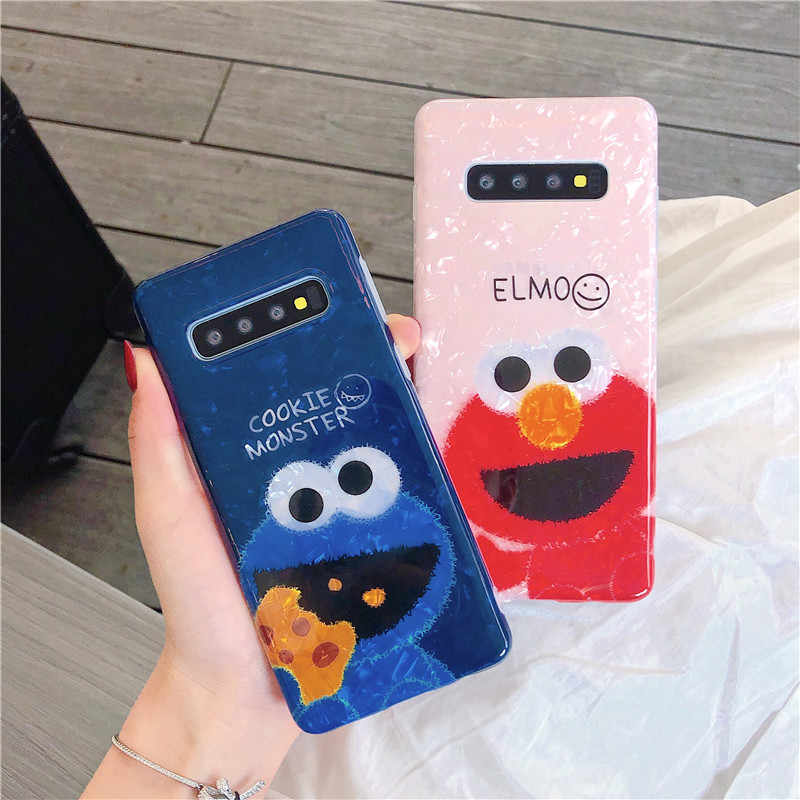 HYSOWENDLY Cute Elmo Cookies Phone Case for Samsung Galaxy S8 S9 S10 Plus 5G Note 8 9 10 Pro Couple Soft IMD Silicone TPU Covers