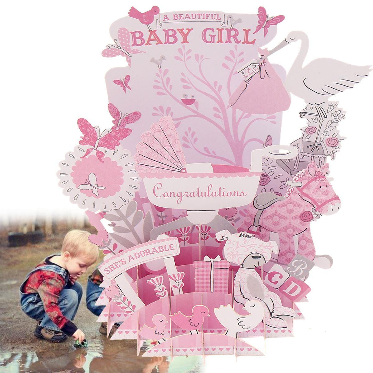 Pink Baby 3D Pop Up Greeting Card Postcard Baby Shower DIY ...