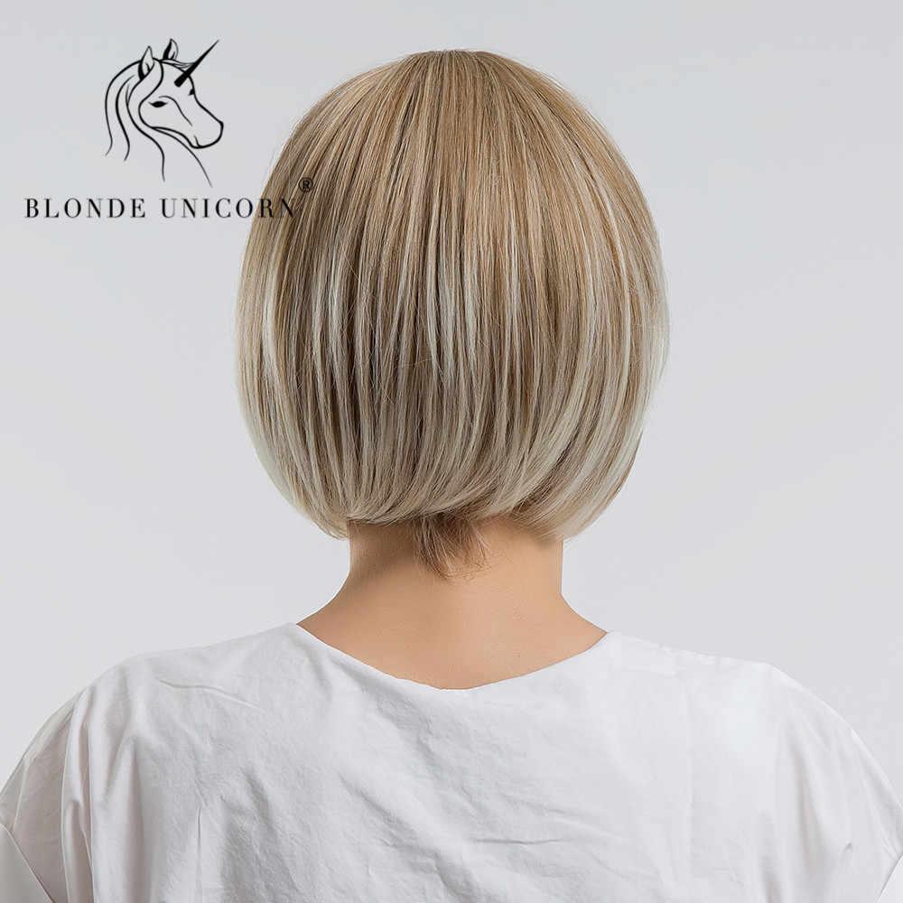 Парики из синтетических волокон блонд с единорогом, 10 дюймов, светильник, коричневый Боб, парики для женщин с боковой челкой, волосы с высокой температурой, прямые парики из волокон