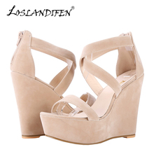 Women Sandals Nude New Platform Flock Gladiator San