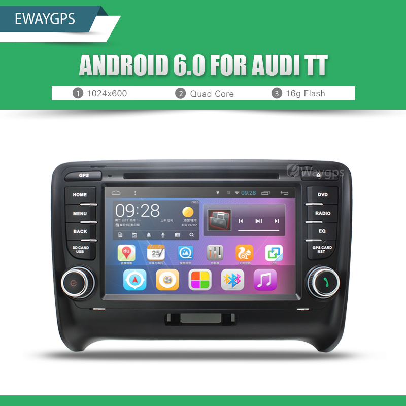 Android 6.0 Quad Core Car DVD Player Stereo Bluetooth gps Wifi Navigation For AUDI A3 A4 TT Free Shipping EW814P6QH