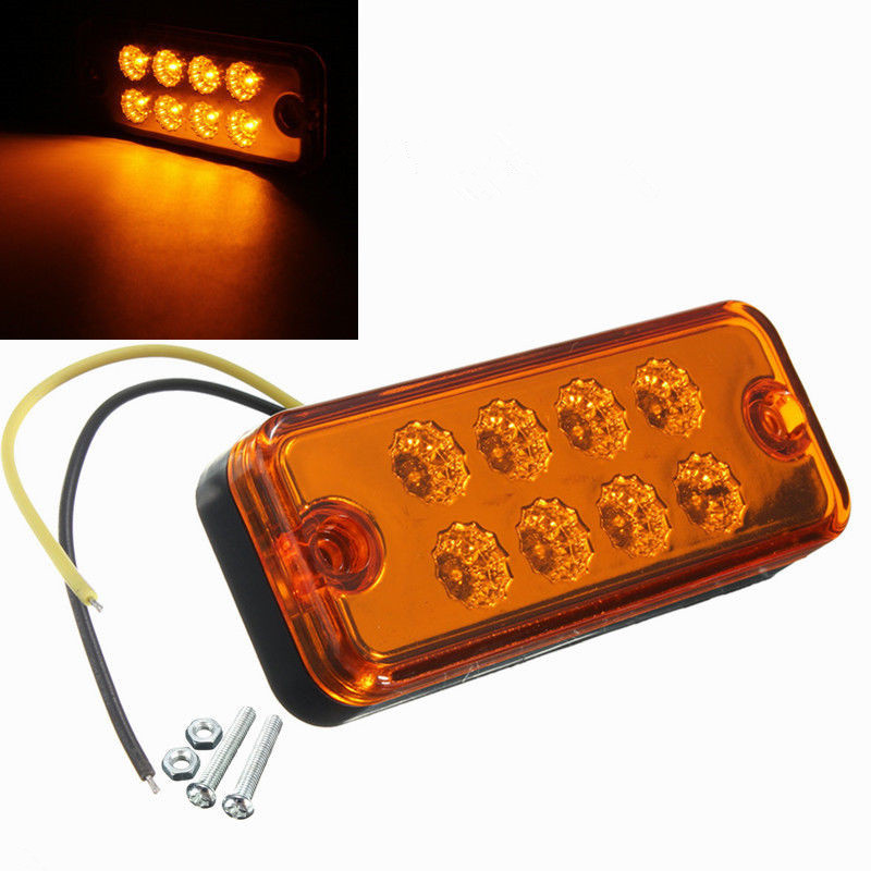CYAN SOIL BAY 1pcs 12V 24V Amber 8 LED Side Marker Light Lamp Truck Trailer Lorry Caravan Waterproof us standard golden 1 gang touch switch screen wireless remote control wall light touch switch control with crystal glass panel