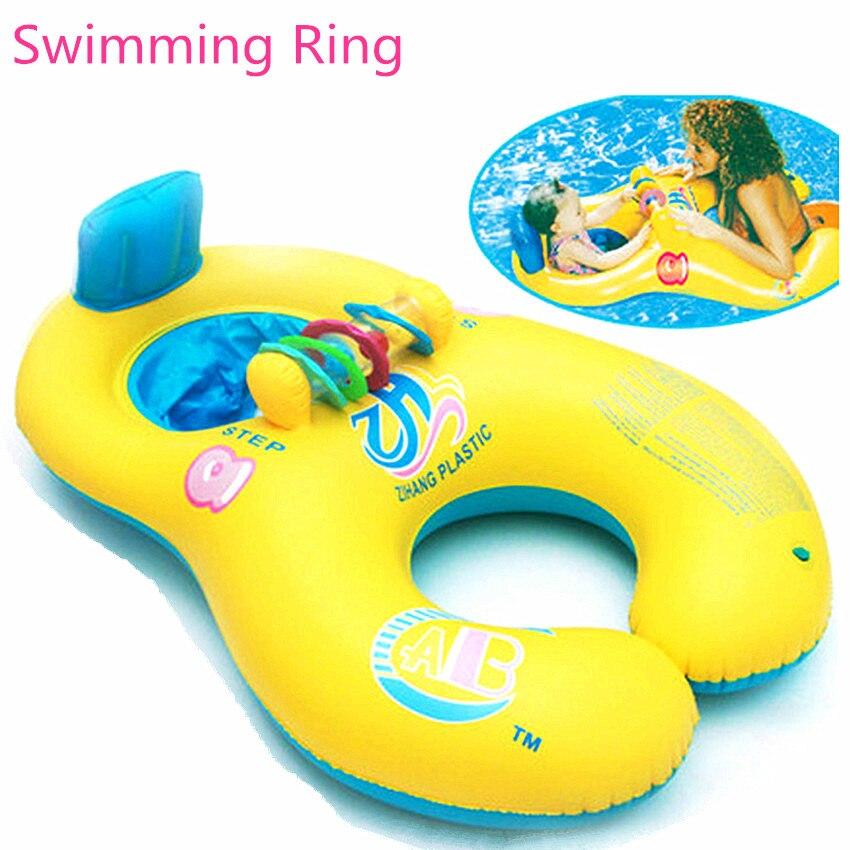 1 Stück Kinder Schwimmen Ringe Rad Sommer Spiele Pool Spielzeug Aufblasbare Mutter Und Baby Pool Swim Ring Sitz Float Boot Mit Sonnenschirm