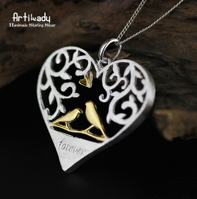 Artilady heart 925 sterling silver pendant romantic birds in tree branch hollow out pendant for women jewelry lover gift party