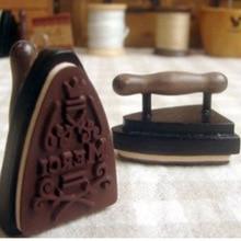 DIY Cute Wooden Vintage Flatiron Stamps Iron Merci Stamp for Diary Photo Album Creative Gift  Free shipping 639
