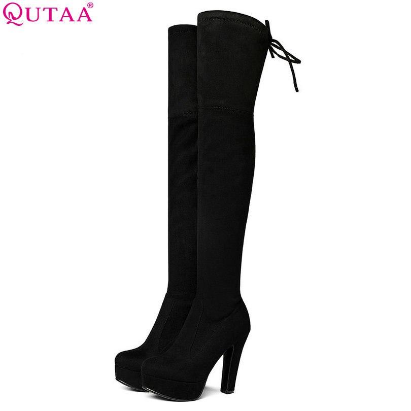 QUTAA/2018 г. женские ботфорты выше колена Эластичная лента на высоком квадратном каблуке пикантные женская обувь для вечеринок черные офисные ...