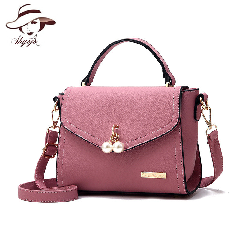 2018 Fashion Luxury Women Crossbody Bag ladies Shoulder Leather Handbags Quality Messenger Bags With Pearl Pendant Flag totes