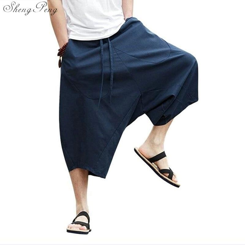 Chinese Style Linen Pants Men Off Linen Pants Mens Wide Leg Cropped Solid Color Mens Linen Kung Fu Pants Q039