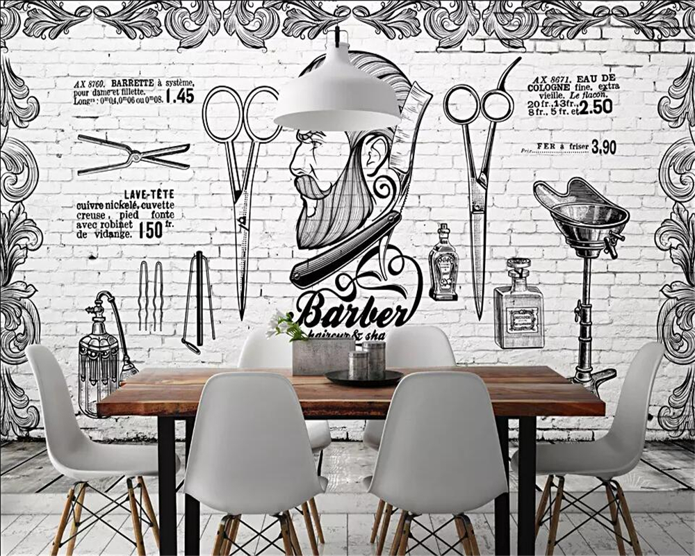 Beibehang Mural Wallpaper Europe And The United Kingdom British Retro Trend Barber Shop Background White Brick Wall 3d Wallpaper