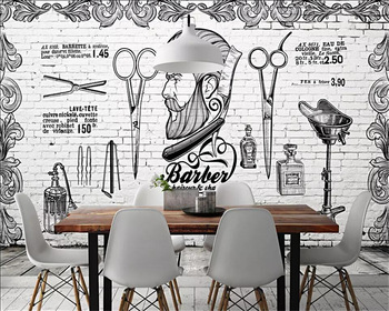 Beibehang Mural wallpaper Europe and the United Kingdom British retro trend barber shop background white brick wall 3d wallpaper fashion hd europe and america hand painted cosmetics wallpaper shop makeup shop background wall