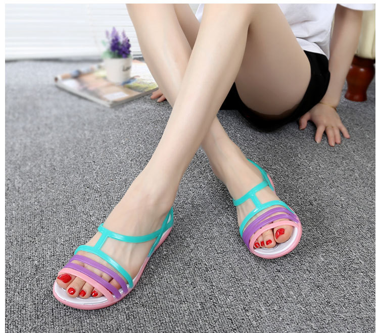 HTB1durjayjrK1RjSsplq6xHmVXa4 - Women Sandals Flat Casual Jelly Shoes Sandalia Feminina Beach Candy Color Slides Ladies Flip Flops Slippers Sandalias Mujer