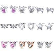 New Fashion Cute Childlike CZ Mickey /Minnie Statement Stud Earrings For Women Cartoon Brand Girls Female Bijoux