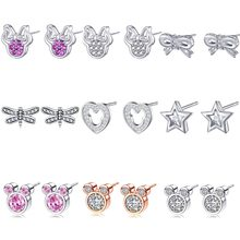 New Fashion Cute Childlike CZ Mickey /Minnie Statement Stud Earrings For Women Cartoon Pandora Earrings Girls Female Bijoux(China)