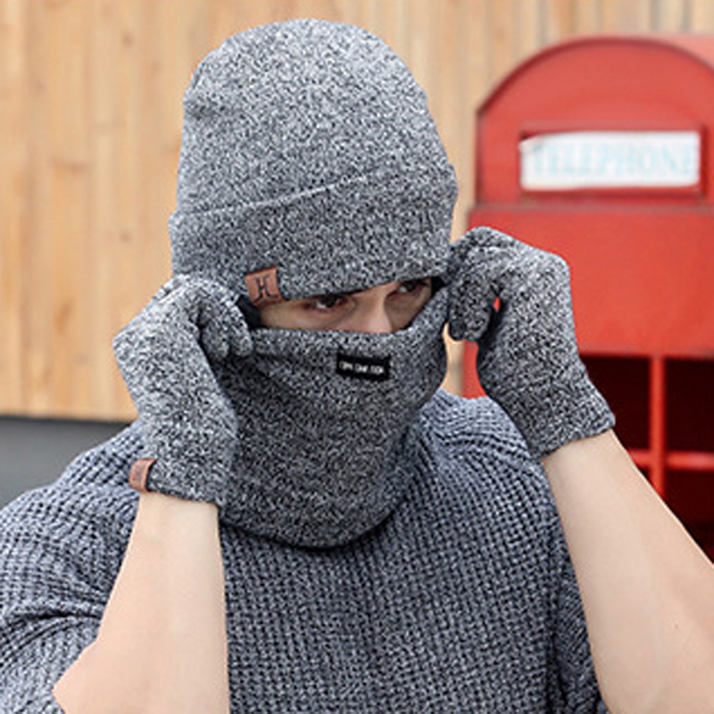 NIBESSER 3pcs Knitted Hat Gloves Scarf Set For Men Winter Fashion Soft Warm Casual Unisex Cap Scarves Sets Gift Outdoor