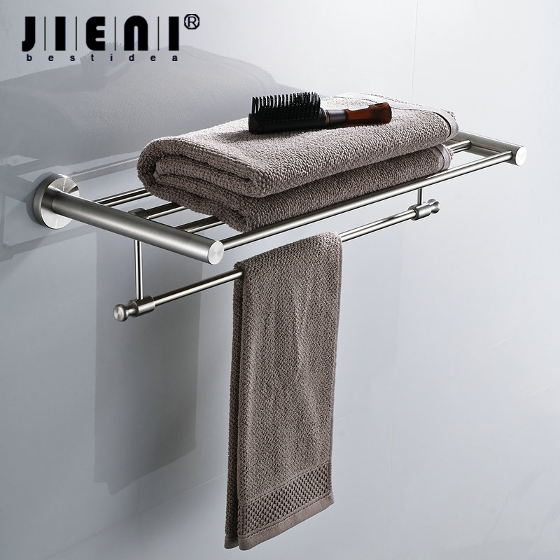 Bathroom Folding Nickel Brushed Finish Wall Mounted Bathroom Towel Rail Holder Storage Rack Shelf Bar Hanger towel racks wall mounted bathroom towel double stainless steel rail holder shelf storage rack bar bathroom tools