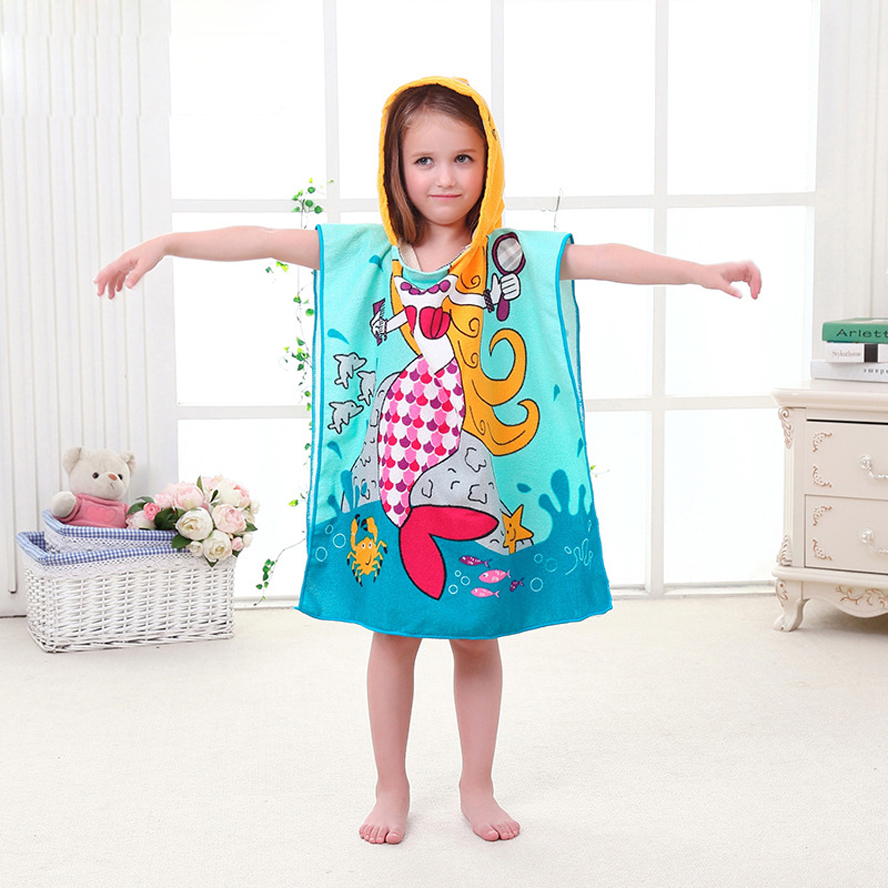 Купить с кэшбэком Size 90*60CM Children Cartoon Baby Hooded Bath Towel Bathrobe Cotton Terry Infant Kids Bathing Wrap Toddler Kids Gifts BCS0004
