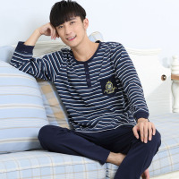 Pajamas Men Spring And Autumn Mens Pyjamas Cotton Stripe Pajamas Long Sleeve Sleepwear Casual Men Pajama
