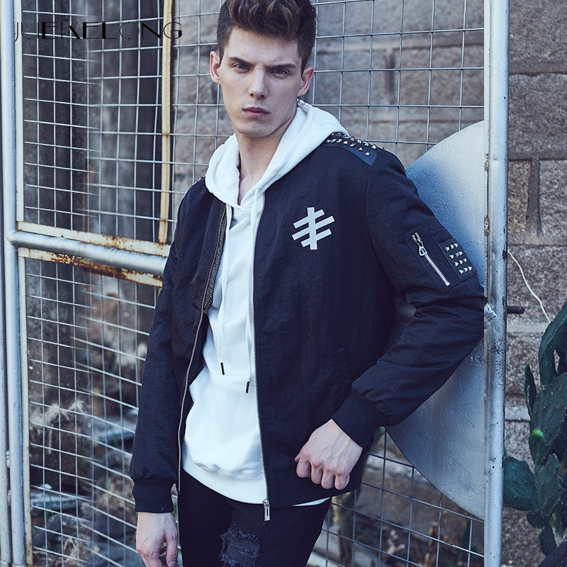 2018 Spring Autumn Men Bomber Jacket Custom Rivet Zippers Hip Hop Slim Fit Pilot And Coat