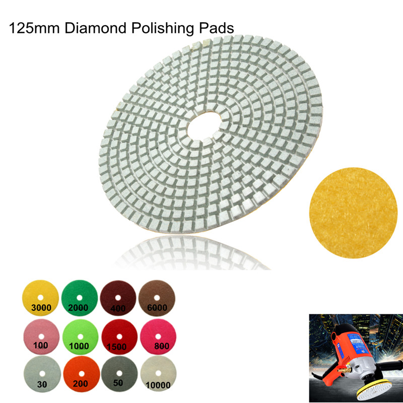 1PC 5 Inch 125mm Wet Diamond Polishing Pads Marble Granite Individual Set Grits Wholesale Price