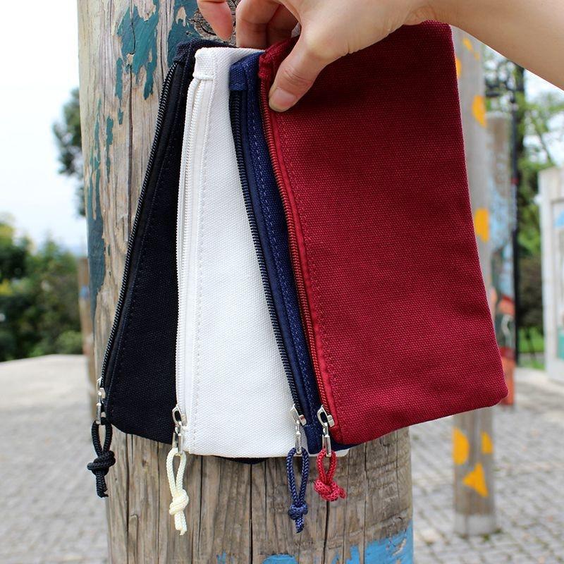 50pcs Colorful Blank Canvas Zipper Pencil Cases Pen Pouches Cotton Cosmetic Bags Makeup Bags Mobile Phone