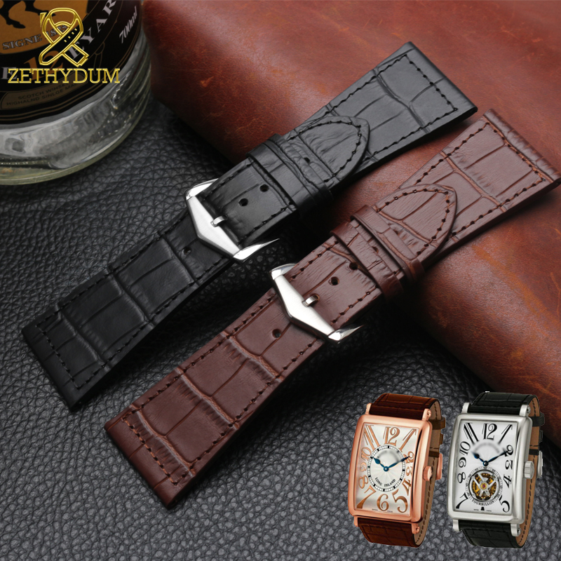Genuine Leather Bracelet 26mm 22mm Watchband 30mm For FM6000H Watch Strap Wristwatches Band Double Head Layer Cowhide Watch Band