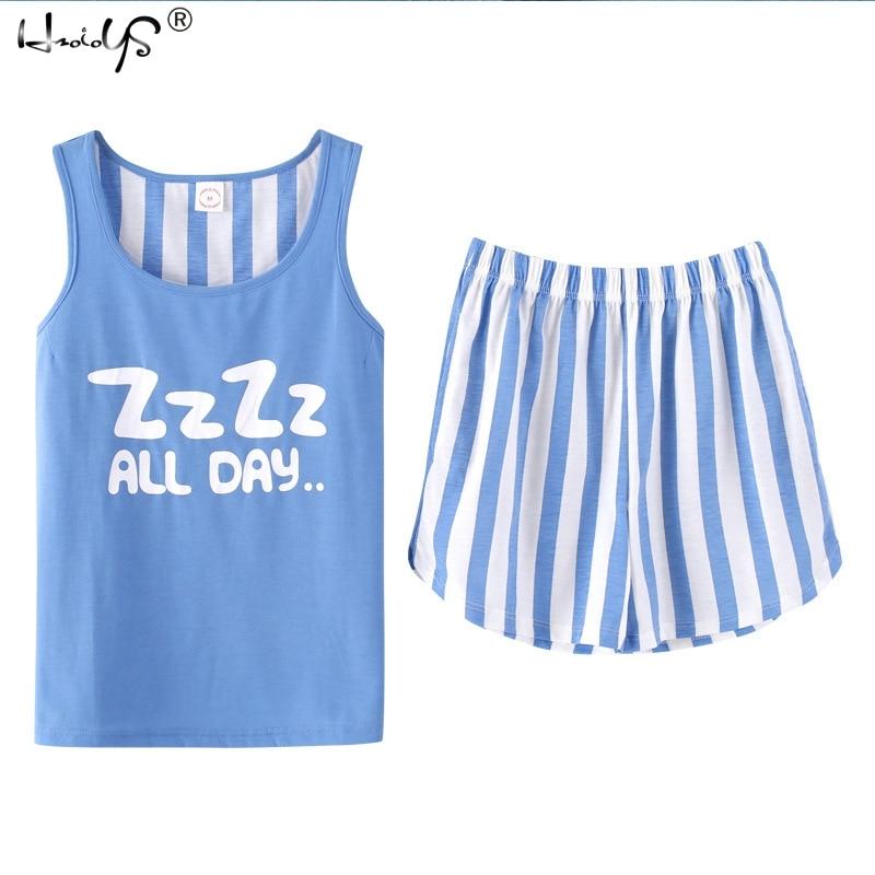 Animal Letter Print Top & Shorts   Pajama     Set   Women Cotton Round Neck Sleeveless Nightwear Summer Casual Sleepwear Girls Homewear