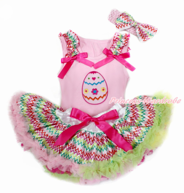 Pink pascua superior del bebé con arco iris de onda & Hot Pink Bow con Egg y arco iris de onda recién nacido Pettiskirt con rosa diadema MABG140