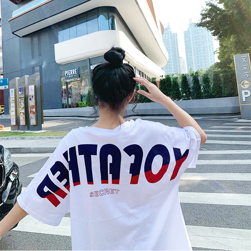 Big Letters Women T shirt Casual Large Tops Loose Tees Summer Clothing Garment Hip Pop Androgynous BF Style Outerwear Girl Cloth in T Shirts from Women 39 s Clothing