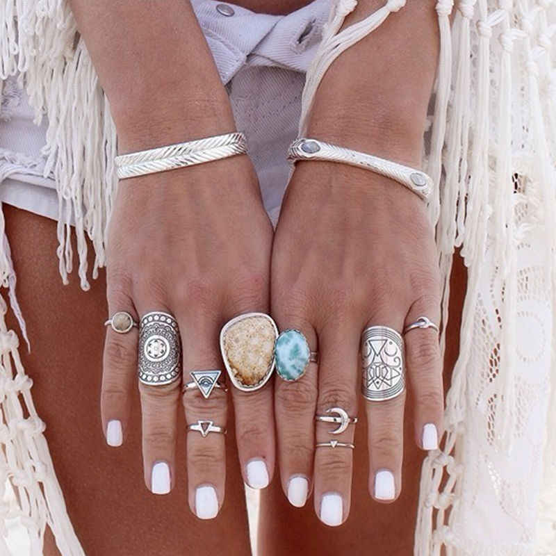 Hot Bohemian retro carving totem geométrica anéis para as mulheres 8RD110