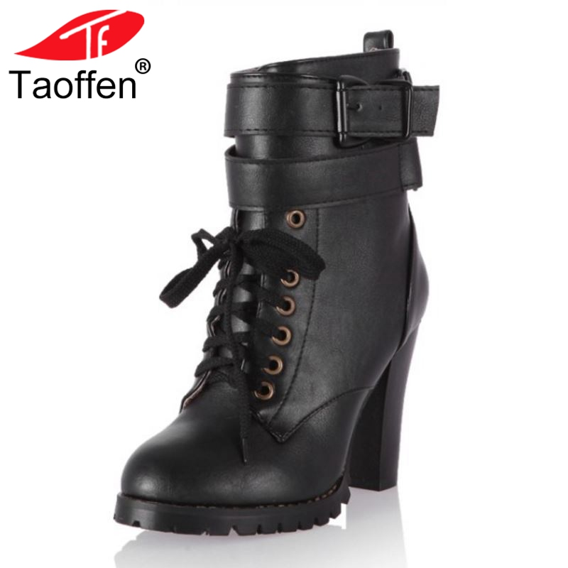 Taoffen Size 34-43 Women Winter Fur Warm Ankle Boots Cross Strap Shoes Women Lace Up Short Boots Fashion Boots Women Footwear taoffen women falt half short ankle boots winter botas footwear cross strap round bohemia toe warm boot shoes p19357 size 34 43