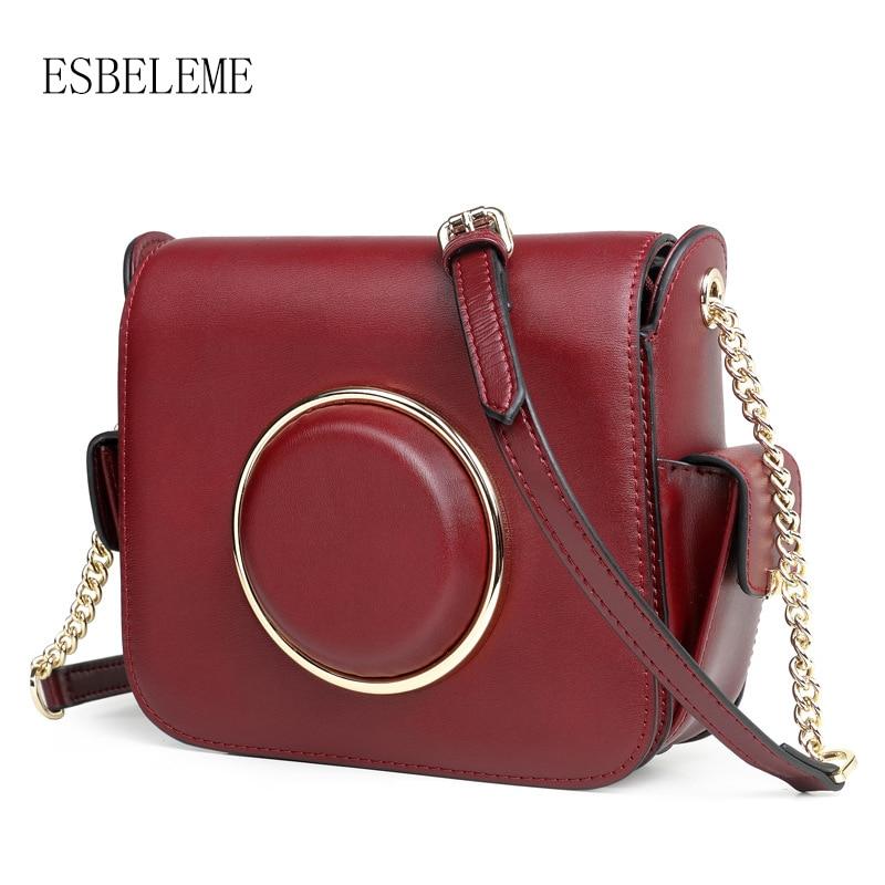 ESBELEME Women Cow Leather Crossbody Bags for Female Burgundy Red Black  Genuine Leather Shoulder Bag Ladies Flap Bag YG182-in Top-Handle Bags from  Luggage ... 06c457ddfec9c