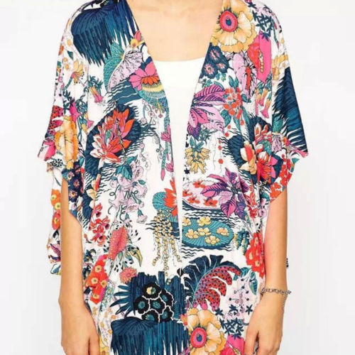 Women Arrival Floral Loose Shawl Kimono Cardigan Boho Chiffon Tops Beach Holiday Blouse