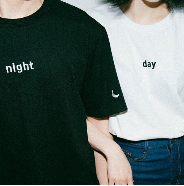 2015 verano Harajuku bordado letra Luna noche día sol ocio Universidad viento mujeres camiseta