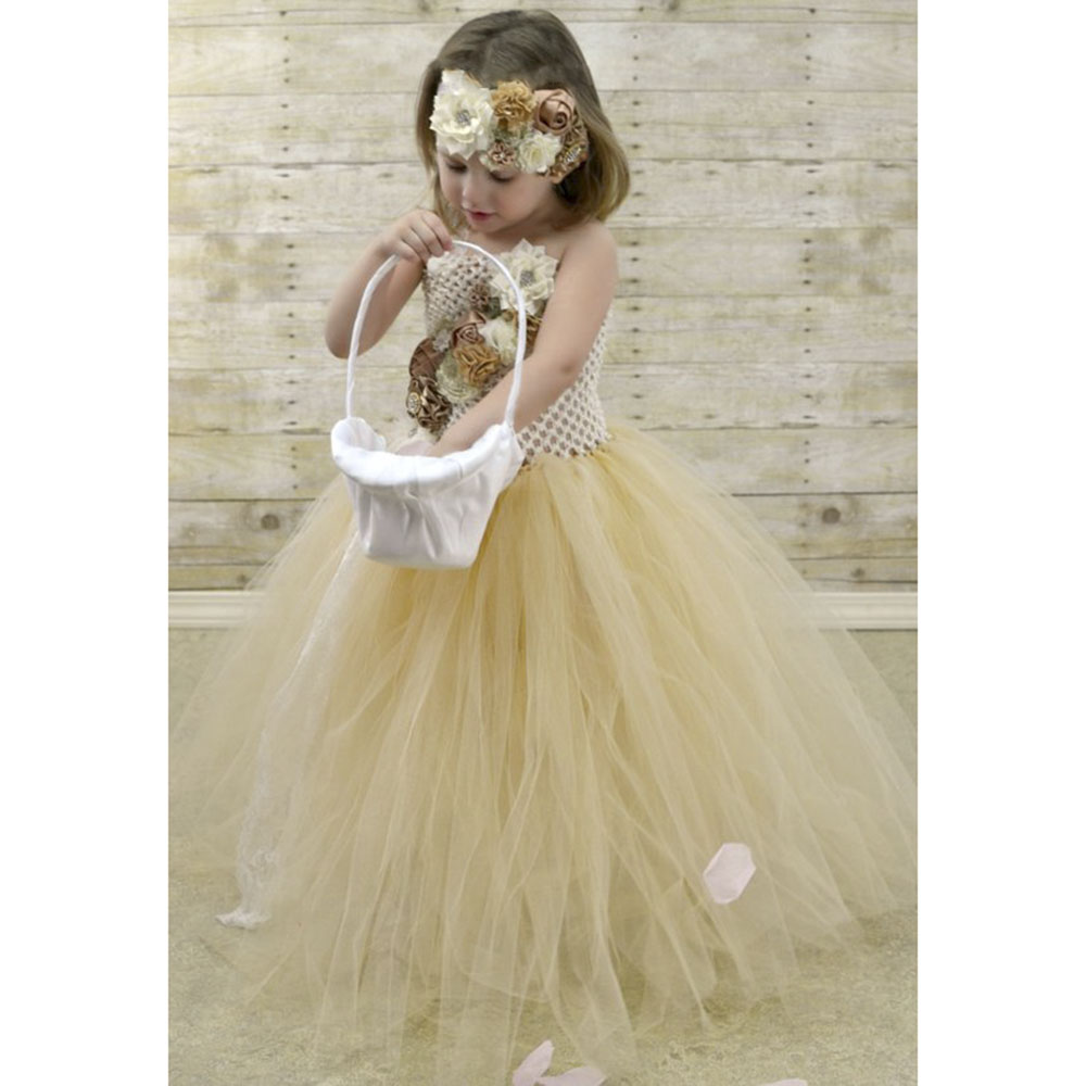 Flower Girl Lace Tulle Tutu Dress Couture for Kids Satin Shabby Flower One Shoulder Dress with Lace Headband Girls Pearl Clothes (3)