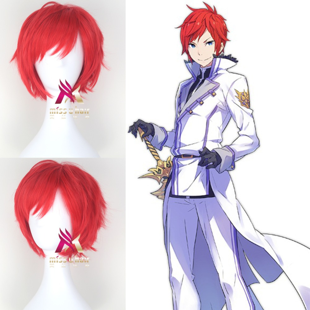 Re:Life in a Different World from Zero Reinhard van Astrea Cosplay Wigs 30cm Red Synthetic Hair Perucas Cosplay Wig