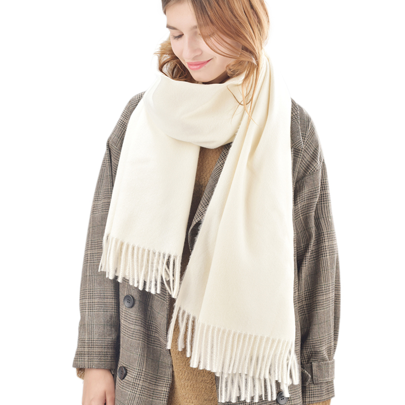 FURTALK winter women wool scarf stylish big stripe pattern fringed edge multifunctional scarf for women