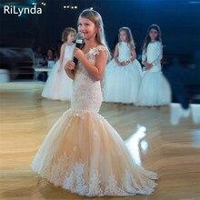 Blume Mädchen Kleid Für Hochzeiten Mermaid Lange Kurzen Ärmeln Pageant Kleider Kurzarm Feder Appliques Prom Kleider Vestido