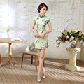 Printed Floral Sexy Mini Chinese Women Dress Traditional Satin Cheongsam Vintage Button Short Sleeve Qipao S M L XL XXL LGD59